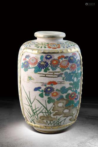 十八世紀 古薩摩燒菊紋貼片彩繪花器