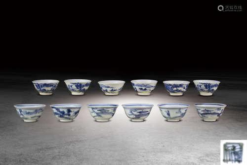 清 青花山水紋小盃一組十二只