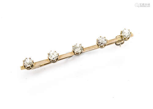 A five stone brooch, the old cut diamonds in claw setting on a plain bar with pin and clasp, diamond