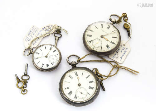Three Victorian silver open faced pocket watches, one large example marked George F. Willis