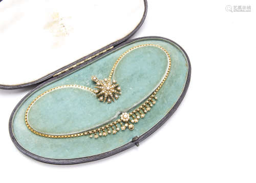 A Victorian 15ct gold necklace, presented in a fitted Carrington & Co case, the fringe necklace with