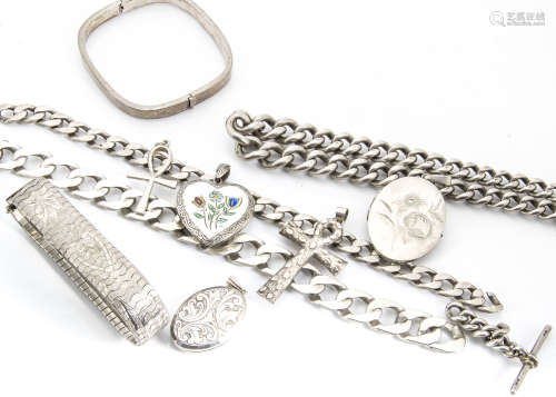 A collection of silver jewels, including a curb link necklace, three silver lockets, silver watch