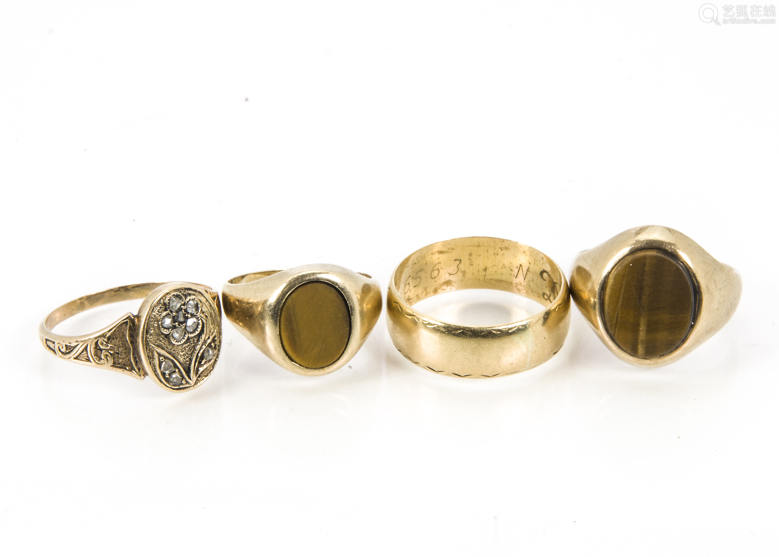 An 18ct gold wedding band, 5.2g, together with a gold and diamond signet ring, 2.3g and two 9ct gold