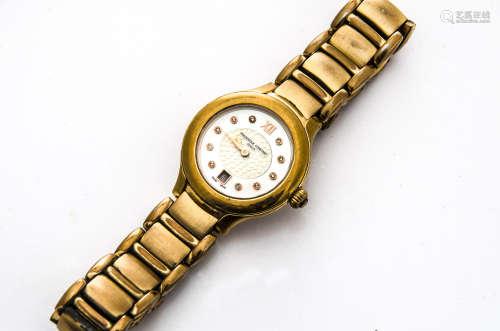 A modern Frederique Constant quartz ladies wristwatch, 32mm case, rose gold coloured with mother