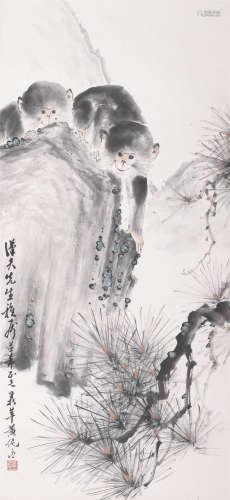 黄鼎萍松树双猿