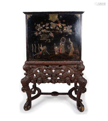 William and Mary Japanned cabinet on stand circa 1700, the front and sides of the cabinet