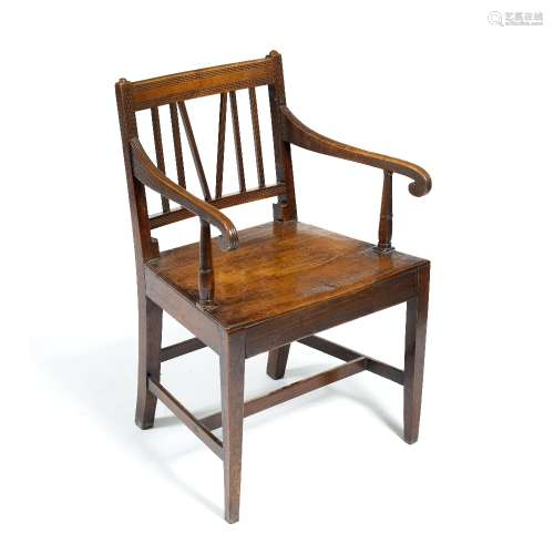 Armchair with scroll arm rests and slatted back, 50cm wide x 42.5cm deep x 84cm high