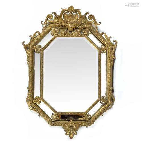 Gilt framed overmantle mirror 19th century, with a shell and scroll top, 140cm high x 92cm across