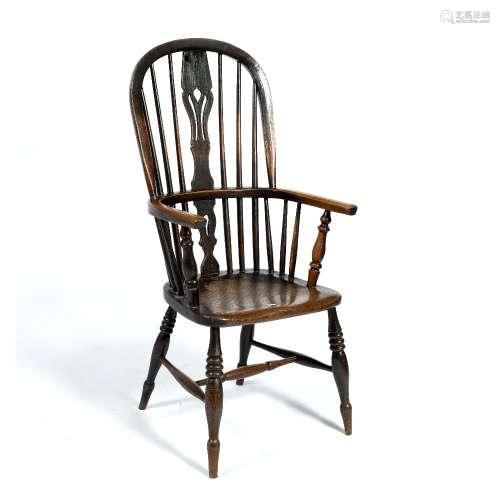 Windsor armchair 19th Century, with pierced splat and stick back , 38cm across x 112cm high