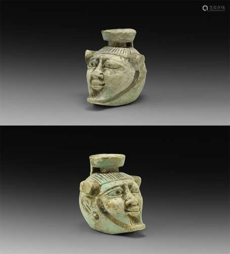 Egyptian Cosmetic Pot with Face