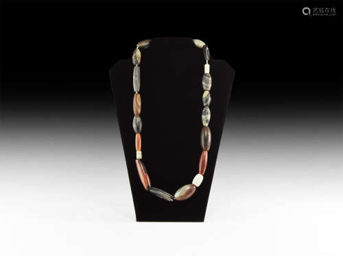 Western Asiatic Bactrian Agate Bead Necklace