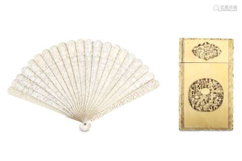 A CHINESE IVORY CANTON BRISÉ FAN AND CARD CASE. Qing Dynasty, 19th Century. Carved on both sides