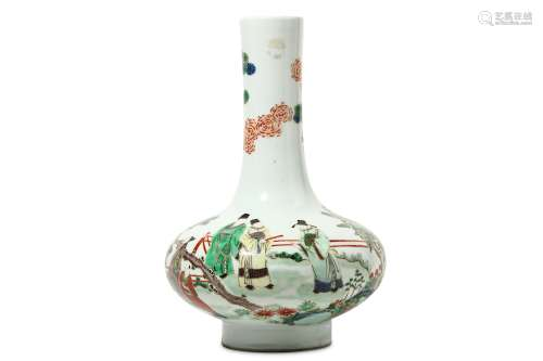 A CHINESE FAMILLE VERTE BOTTLE VASE. The squat body rising to a tall cylindrical neck decorated with