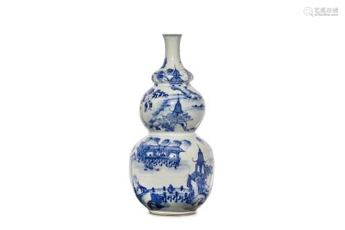 A CHINESE BLUE AND WHITE 'LANDSCAPE' TRIPLE GOURD VASE. Qing Dynasty, 19th Century. Decorated across
