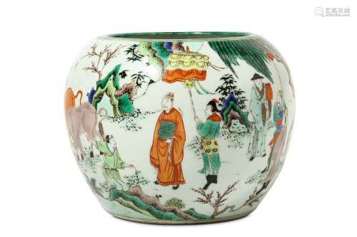 A CHINESE FAMILLE VERTE BOWL. The tapered ovoid body rising to an incurved mouth, decorated around