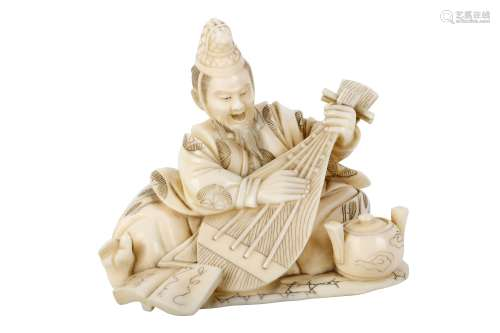 AN IVORY OKIMONO OF A MUSICIAN. Meiji Period. A nobleman seated on a mat, singing and playing a biwa