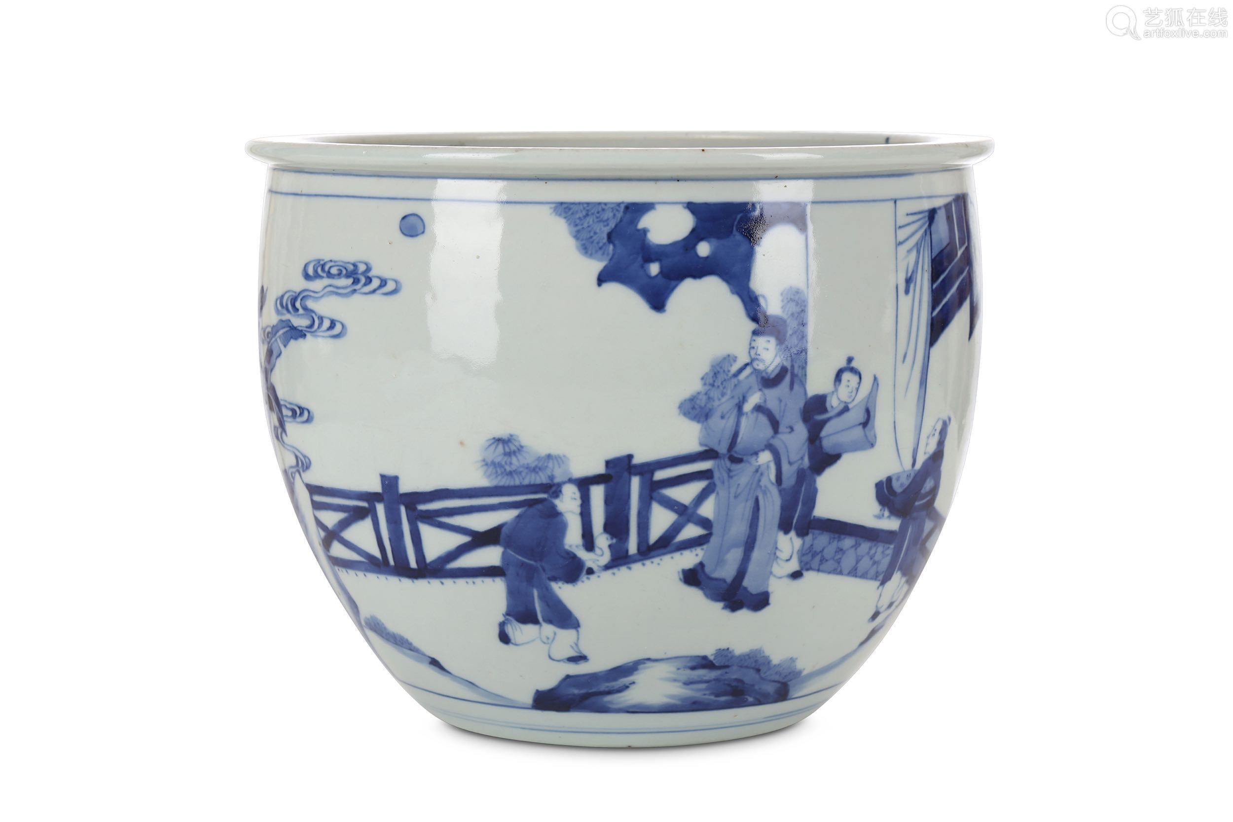 A CHINESE BLUE AND WHITE JARDINIERE. Qing Dynasty, Kangxi period. Painted with a rectangular