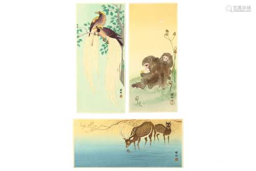 OHARA KOSON (1877 - 1945). Three tanzaku format prints, monkeys and a butterfly, a pair of long-