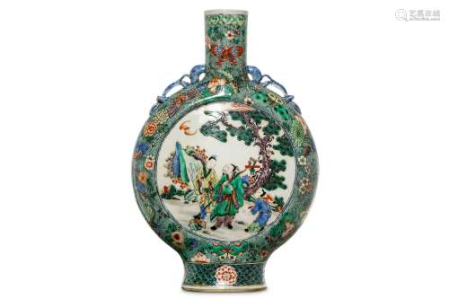 A CHINESE FAMILLE VERTE MOON FLASK. Of flattened circular form, each side with a circular roundel