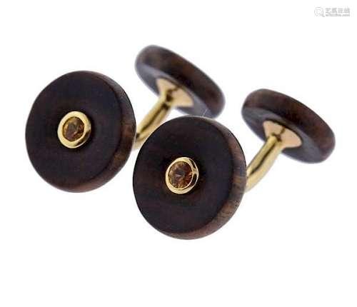 Trianon 18k Gold Wood Citrine Cufflinks