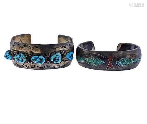 Native American Navajo Sterling Bracelet Lot of 2