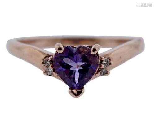 14K Gold Diamond Amethyst Heart Ring