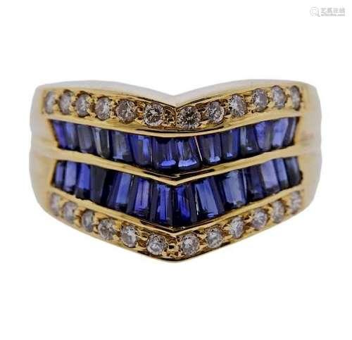 18K Gold Diamond Sapphire Band Ring