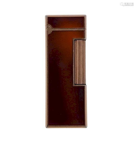 Dunhill Gold Plated Brown Lacquer Lighter 106933