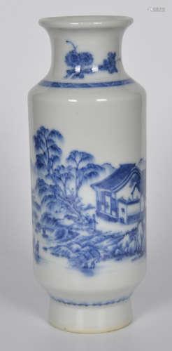 青花山水筒瓶