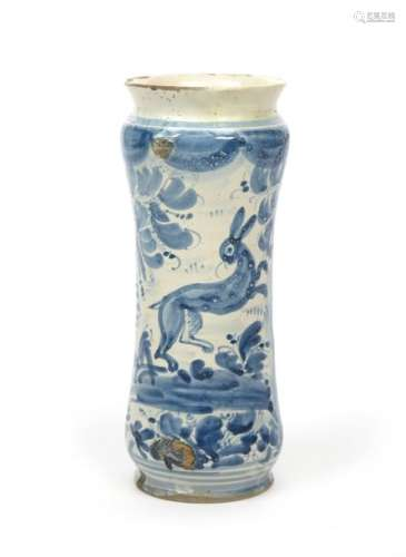 A Savona maiolica albarello mid 18th century, the ...;