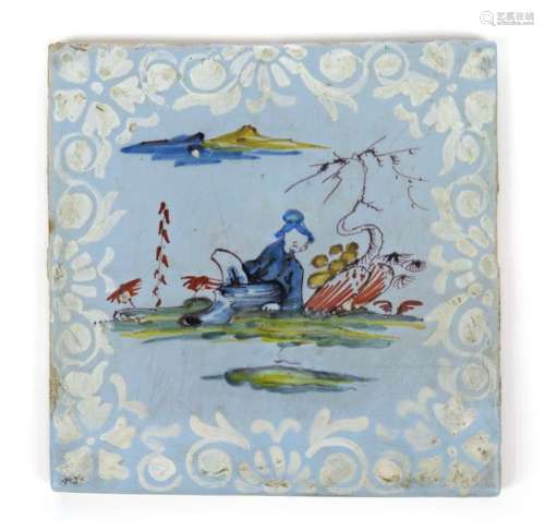 A Bristol delftware tile c.1765, painted in polych...;