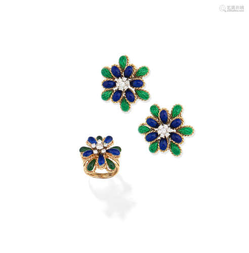 (2) An enamel and diamond ring and a pair of enamel and diamond earclips