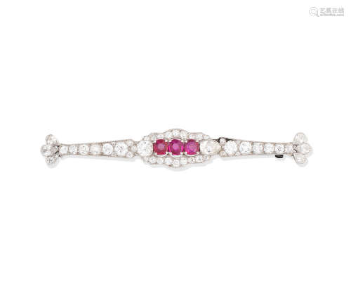 An early 20th century ruby and diamond bar brooch, by Hennell