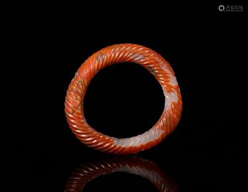 漢代 鎬紅瑪瑙絞絲環