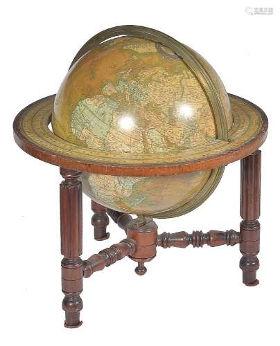 A late Victorian 12 inch library table globe