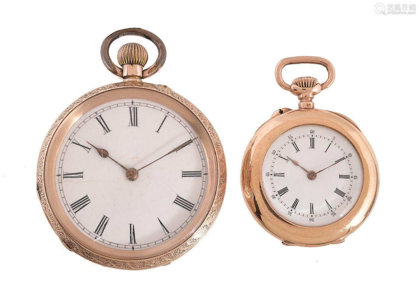 Unsigned,14 carat gold open face keyless wind pocket watch