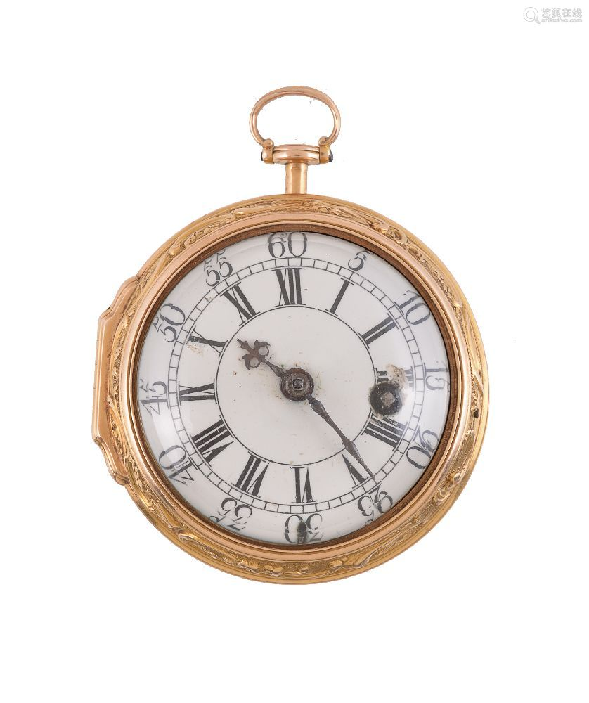 Andrew Dunlop, London,Gold coloured open face pocket watch