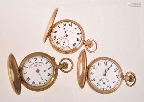 Tavanne Watch Co.,Gold plated half hunter keyless wind pocket watch