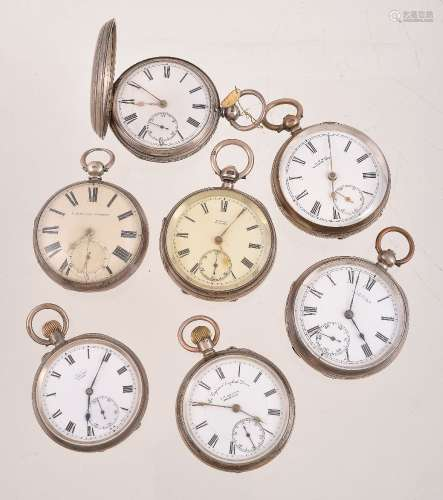 A collection of seven silver pocket watches