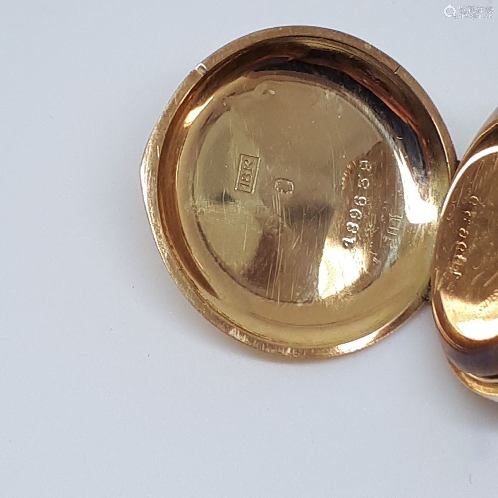 S. Smith & Son,18 carat gold open face fob watch