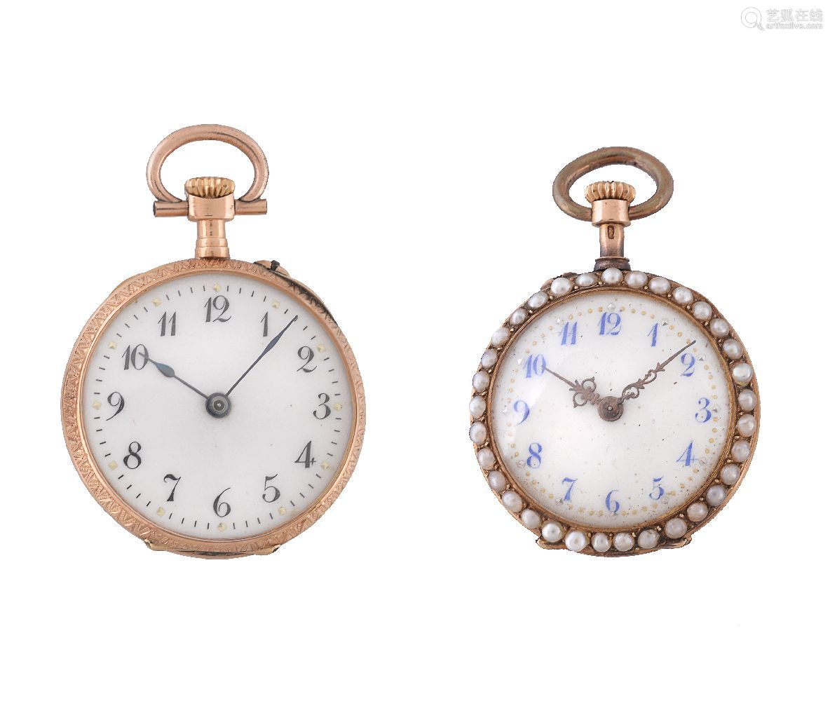 Unsigned,18 carat gold, enamel and half pearl open face keyless wind fob watch