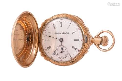 Rockford Watch Co., Gold plated full hunter keyless wind pocket watch