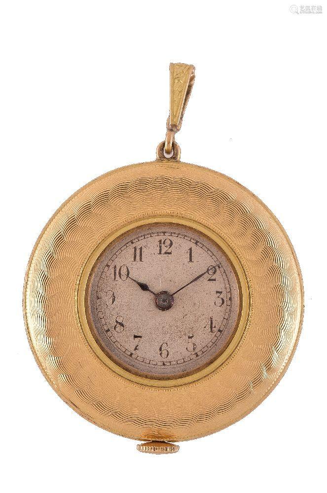 Unsigned, 18 carat gold pendant watch