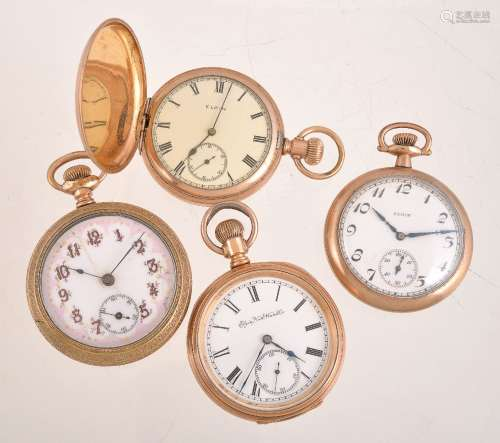 A collection of four Elgin gold plated keyless wind pocket watches