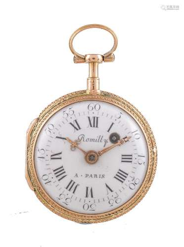 Romilly, A. Paris,Gold coloured and enamel open face pocket watch