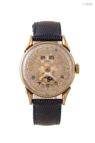 Ebel, Gold plated, triple calendar moonphase wrist watch