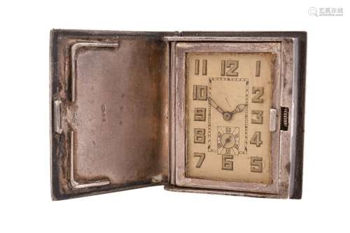 Unsigned,Silver and leather novelty book purse watch