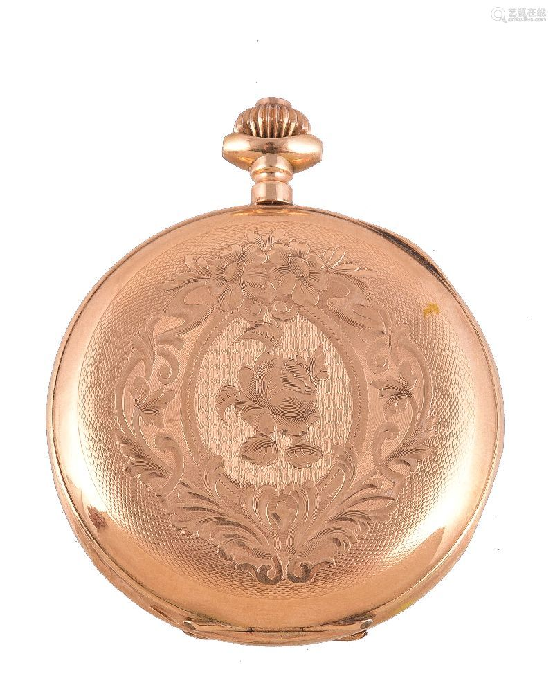 Unsigned,Gold full hunter keyless wind pocket watch