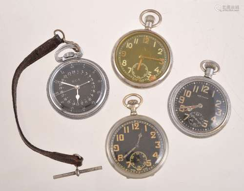 Waltham,Base metal open face keyless wind military pocket watch