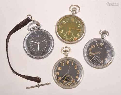 Waltham,Base metal open face keyless wind military pocket watch